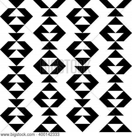 Triangles, Arrows, Figures Seamless Pattern. Ethnic Ornate. Geometric Image. Folk Ornament. Tribal W