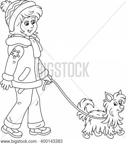 Cute Girl In Winter Clothes Walking Her Small Shaggy Dog, Black And White Outline Vector Cartoon Ill