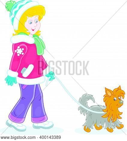 Girl In Colorful Winter Clothes Walking Her Small Shaggy Dog, Vector Cartoon Illustration On A White