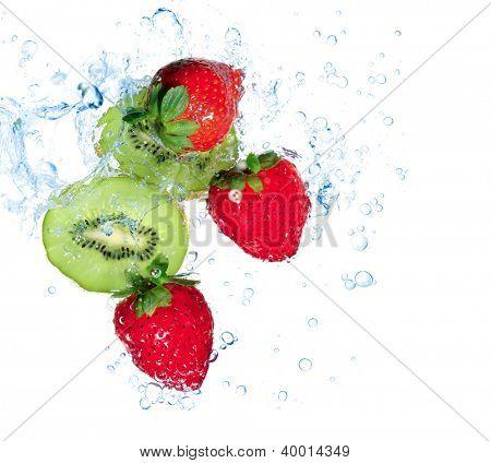 strawberries and kiwi water splash isolated on white