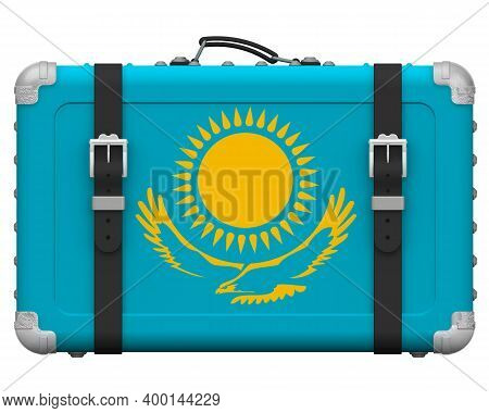 Stylish Suitcase With The National Flag Of Kazakhstan. Retro Suitcase With The National Flag Of Kaza
