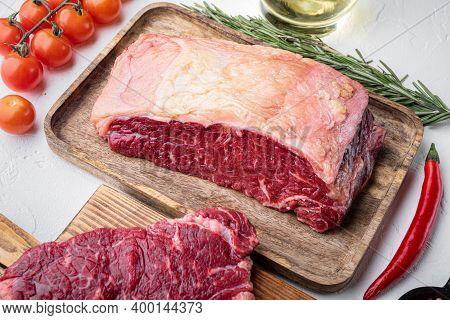 Short Loin Raw Beef Steak, On White Background