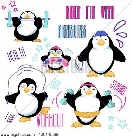 Keep Fit With Penguins Set. Cute Cartoon Penguins Jump, Swim And Train. Clipart With Characters And