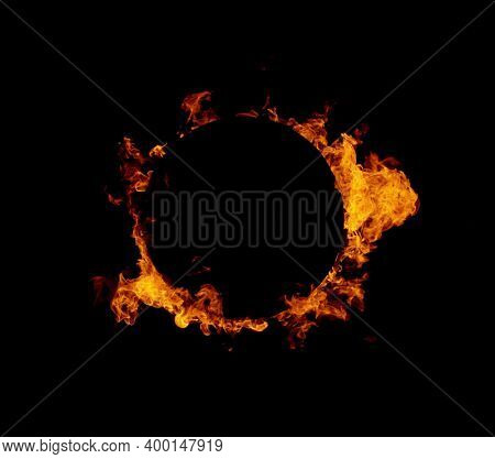Fire ring isolated on black background, abstract circle shape with free space for text.