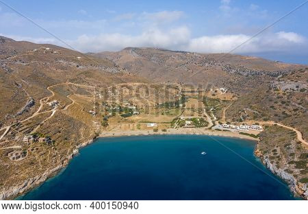 Kea Tzia Island, Cyclades, Greece. Spathi Bay And Beach Aerial Drone View