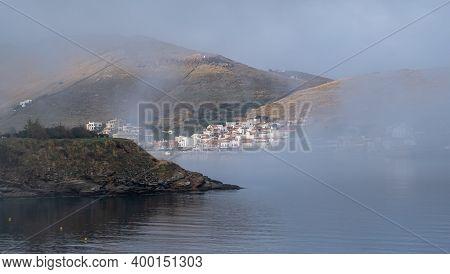 Kea Tzia Island, Greece. Fog Over Korissia Port