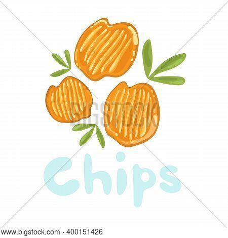 Potato Chips Clipart Vector Icon. Stock Isolated Cute Cartoon Fastfood Illustration. Orange, Yellow