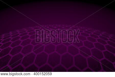 Multilayer Sphere Of Honeycombs, Purple On A Dark Background, Social Network, Computer Network, Tech
