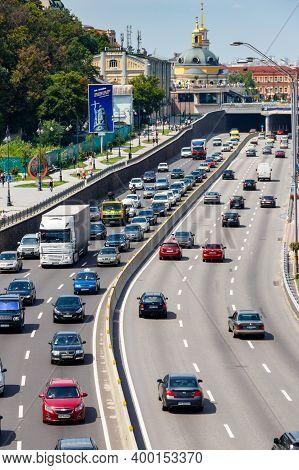 Kiev, Ukraine - July 28, 2018: Traffic Cars On The Multi Lane Highway During Rush Hour