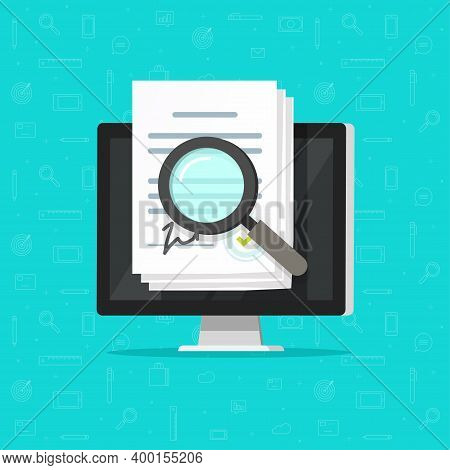 Corporations Bylaws Online Analysis Inspection Audit, Digital Agreement Contract Documents Vector On