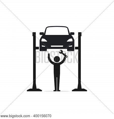 Mechanic Repairing A Car Lifted On Auto Hoist. Front View. Flat Style Vector Illustration Isolated O