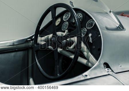 Stuttgart, Germany 6 March 2020:  Steering Wheel And Dashboard Of Porsche Type 360 (1948)  Cisitalia