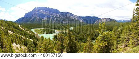 Beautiful Panoramic View Of Bow Valley: View To Mount Rundle, Bow River And Tunnel Mountain In Banff