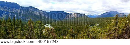 Panoramic View Of Bow Valley: View To Mount Rundle, Bow River And Tunnel Mountain In Banff Nationalp