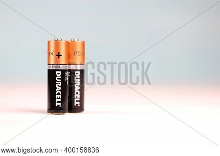Duracell Batteries On White Background. Duracell Is An American Brand Of Batteries And Smart Power S