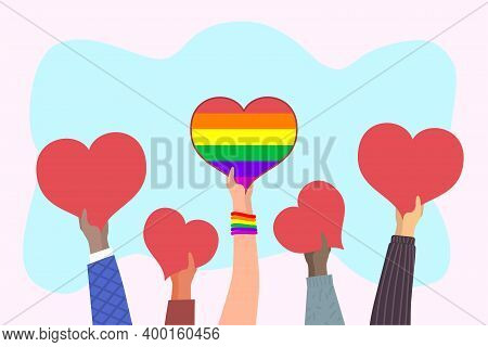 Hearts In Hands. Hand Holding Big Heart With Rainbow Lgbt Flag. Demonstration In Support Of Lgbt Rig