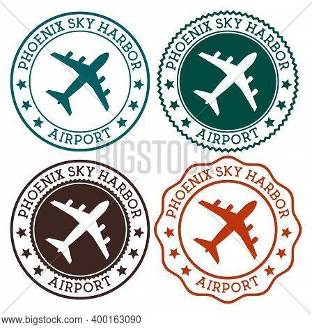 Phoenix Sky Harbor Airport. Phoenix Airport Logo. Flat Stamps In Material Color Palette. Vector Illu