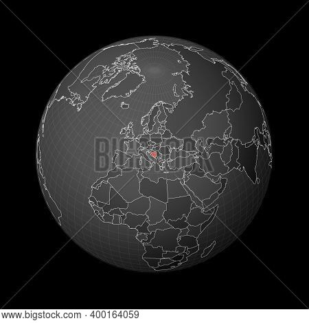 Dark Globe Centered To Bosnia. Country Highlighted With Red Color On World Map. Satellite World Proj