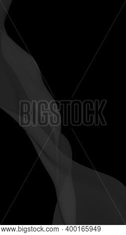 Black Abstract Background. Fluttering Black Scarf. Waving On Wind Black Fabric. Vertical Orientation