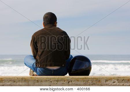 Biker On A Beach