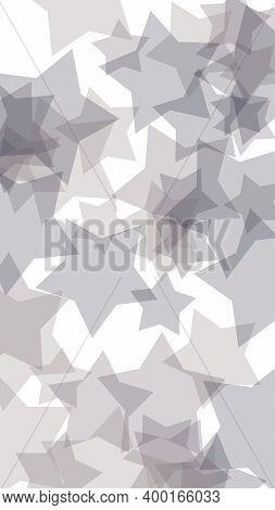 Gray Translucent Stars On A White Background. Vertical Image Orientation. 3d Illustration
