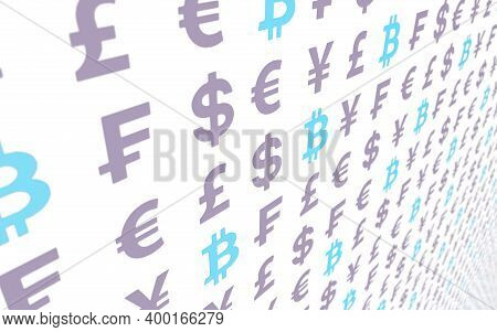 Bitcoin And Currency On A White Background. Digital Crypto Currency Symbol. Business Concept. Market