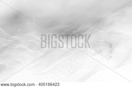 White Abstract Background. Hi Tech Network. Cyberspace Grid. Outer Space. Starry Outer Space Texture