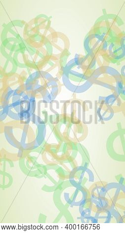 Multicolored Translucent Dollar Signs On White Background. 3d Illustration