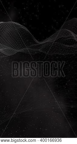 Black Abstract Background. Hi Tech Network. Cyberspace Grid. Outer Space. Starry Outer Space Texture