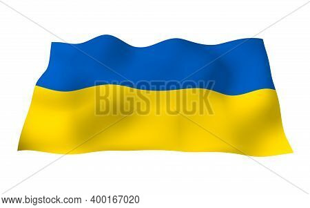 The Flag Of Ukraine On A White Background. National Flag And State Ensign. Blue And Yellow Bicolour.
