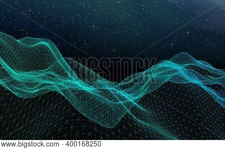 Abstract Landscape On A Dark Background. Cyberspace Grid. Hi Tech Network. Outer Space. Starry Outer