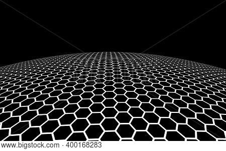 Dark Honeycomb On Dark Background. Perspective View On Polygon Look Like Honeycomb. Ball, Planet, Co