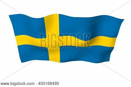 The Flag Of Sweden. Official State Symbol Of The Kingdom Of Sweden. A Blue Field With A Yellow Scand