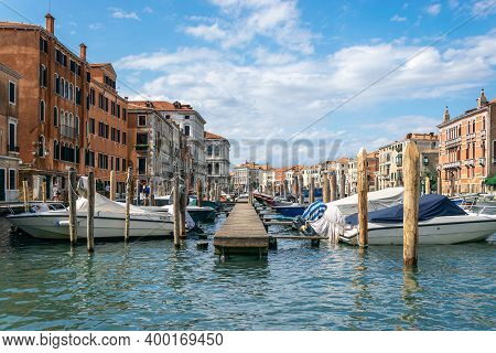 Italy, Venice. Grand Canal For Gondola In Travel Europe City. Old Italian Architecture With Landmark