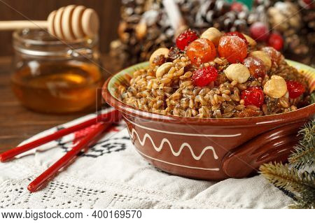Kutya. Porridge, Which Is Traditionally Prepared For Christmas. Spelt Porridge With Raisins, Cherrie