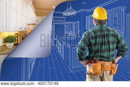 Contractor Standing In Front Custom Kitchen Blueprint Drawing With Page Corner Curling To Reveal Finished Construction.