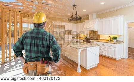 Contractor Standing In Front Custom Kitchen Construction Framing Gradating Into Finished Build.