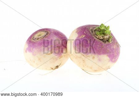 Freshly Harvested Spring Turnips (brassica Rapa) On A White Background Indian Turnips