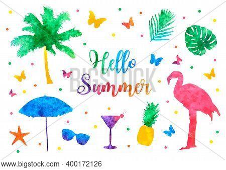 Hello Summer Bright Rainbow Banner, Postcard. Watercolor Silhouettes Of Palm Tree, Flamingo, Sunglas