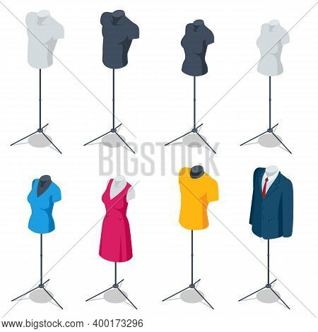Isometric Male And Female Mannequin Dress Form Torso Tripod Stand Display. Set Of Realistic Human Ma