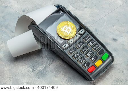 Bitcoin Payment. Pos Terminal And Bitcoin Coin