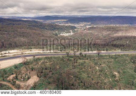 Aerial Photograph Of A Highway And Forest Regeneration After Bushfires Near Clarence In The Central