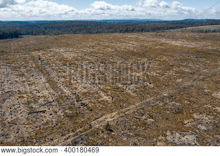 Aerial View Of A Cleared Open Field Affected By Bushfire In The Central Tablelands In Regional New S