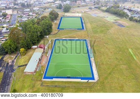 Aerial View Of A Field Hockey Ground In The Township Of Lithgow In The Central Tablelands In Regiona