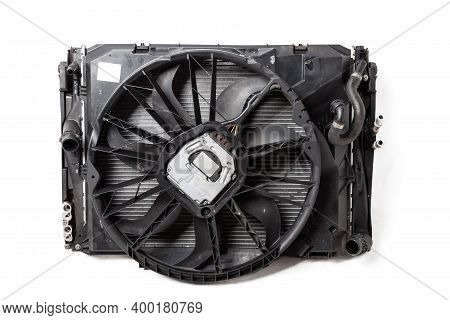 Front Part Of Aluminum Detail - Engine Radiator Cooling Fan On White Isolated Background In A Photo