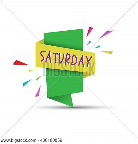 Saturday. Colored Banner With The Name Of The Day Of The Week. Stock Vector Illustration
