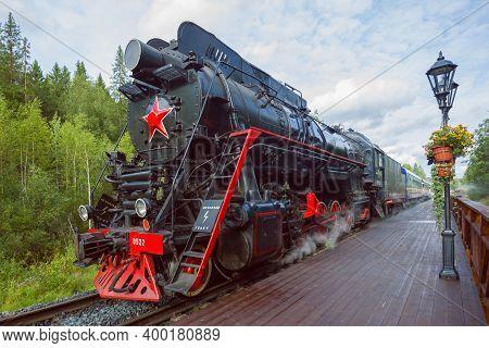 Ruskeala, Russia - August 15, 2020: Soviet Steam Locomotive Of The