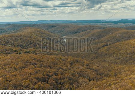 Aerial View Of A Forest And Bushland In The Blue Mountains In New South Wales In Regional Australia