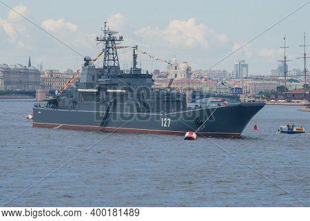 Saint Petersburg, Russia - July 30, 2017: Navy Day In St. Petersburg. Large Landing Ship