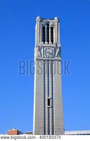 RALEIGH, NC, USA - September 4, 2020: Memorial Belltower at North Carolina State University in Raleigh, North Carolina.